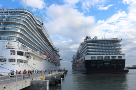The ms Koningsdam arrives at Amber Cove, Dominican Republic.