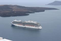 The Majestic Princess anchored at Santorini, Greece.