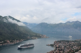 Majestic Princess anchored at Kotor, Montenegro.